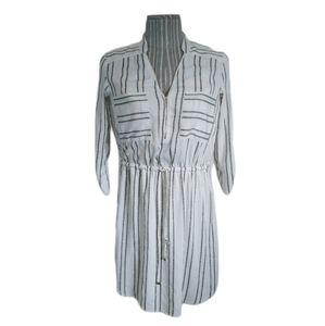 Dynamite Striped Shirt Dress with Drawstring, S